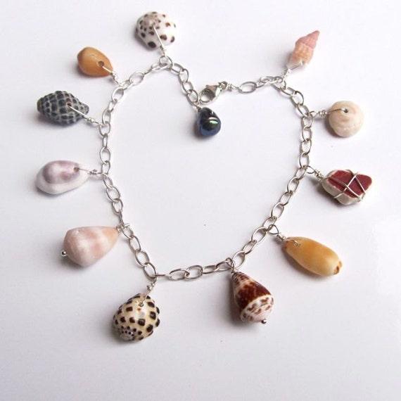 Hawaiian Shell Charm Bracelet, Sterling Silver, Colorful, Hawaii Beach Jewelry, Handmade