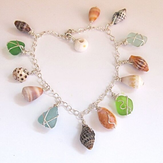 Shell Charm Bracelet, Silver, Colorful Sea Glass, Hawaii Beach Jewelry, Wire Wrapped, OOAK, Handmade, Gift for Her