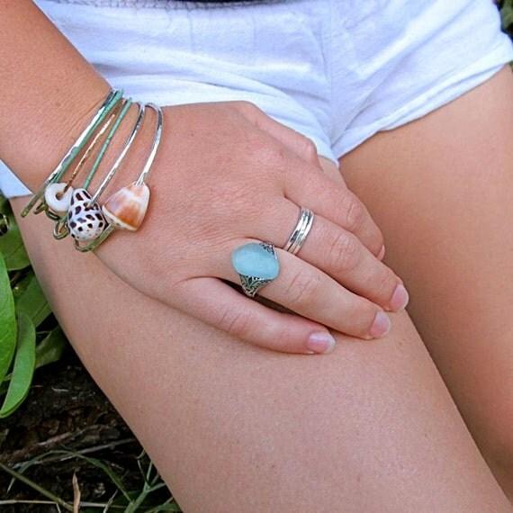 Sea Glass Ring Aqua Hawaiian Beach Glass Maui Hawaii Gift for Her