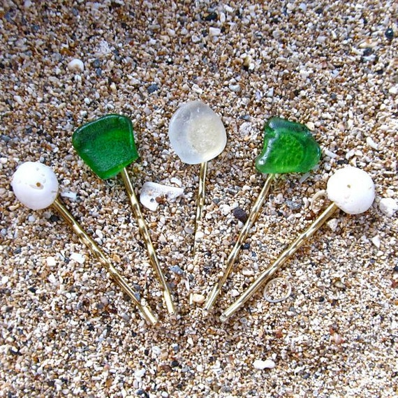 Puka Shell Sea Glass Bobby Pins, Hawaii Beach, Handpicked, OOAK Hair Ornament, Gift For Her