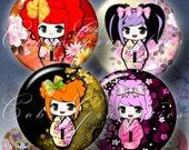 "Japanese Dolls - Kokeshi - 1.5"", 1.25"", 30mm, 1.06"", 25mm circles - Digital Collage Sheets CG-382 - craft, jewelry making, digital downloads"