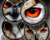 """Printable Digital Collage Sheets CG-425 Owl Eyes - 1.5"""", 1.25"""", 30mm, 1"""", 25mm circles - digital downloads for jewelry making, bottle caps"""