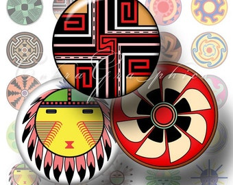 """Native American Designs - 1"""" and 20mm circles - Digital Collage Sheets CG-129 for Jewelry, Bottle Caps"""