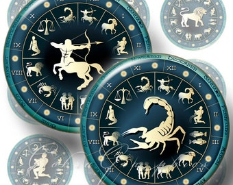 Zodiac Signs - 20mm, 18mm, 16mm, 14mm and 12mm circles - Digital Collage Sheets CG-256 for Jewelry, Crafts