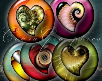 Fractal Hearts - 20mm, 18mm, 16mm, 14mm and 12mm circles - Digital Collage Sheets CG-416 for Jewelry, Crafts