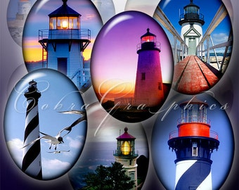 Lighthouses - 30x40mm and 22x30mm ovals - Digital Collage Sheets CG-501 - Printable Images for Cameos, Jewelry, Crafts - Instant Download