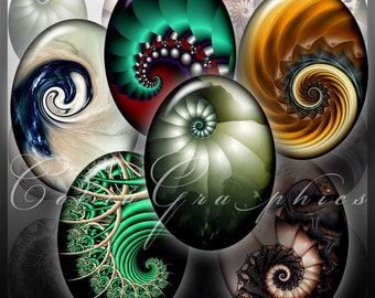 Fantastic Shells - 18x25mm, 13x18mm, 12x16mm and 10x14 mm ovals - Digital Collage Sheet CG-531 for Pendants, Crafts