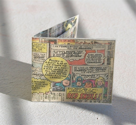 Sewn Red Skull captain america wallet with vintage retro ads recycled upcycled marvel comic book comics superheroes super hero billfold