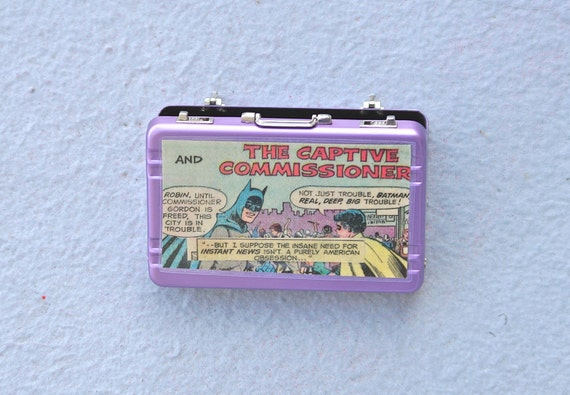 Batman and Robin miniature briefcase credit card holder card case purple aluminum recycled comic book upcycled vintage dc comics