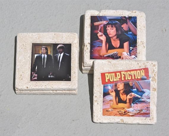 Pulp Fiction Coaster Set of 6 coasters uma thurman samuel jackson quentin tarantino movie pop culture moviegoer film cinema
