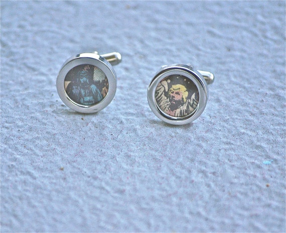 Star Wars cuff links cufflinks Darth Vader and Luke Skywalker gifts for geeks handmade recycled upcycled repurposed vintage comic book