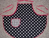 Womens Black, White & Red Polka Dot Apron for Cooking and Arts and Crafts