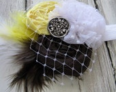 Yellow Brown White Headband - Stretchy Rosette Headband - Yellow Brown White Feathers - Thin Elastic Headband - Infant to Adult - Button
