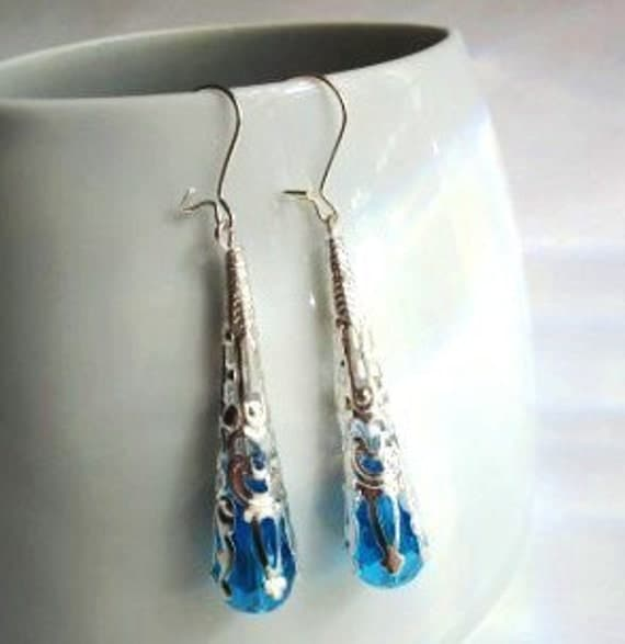Nouveau Turquoise Crystal Earrings