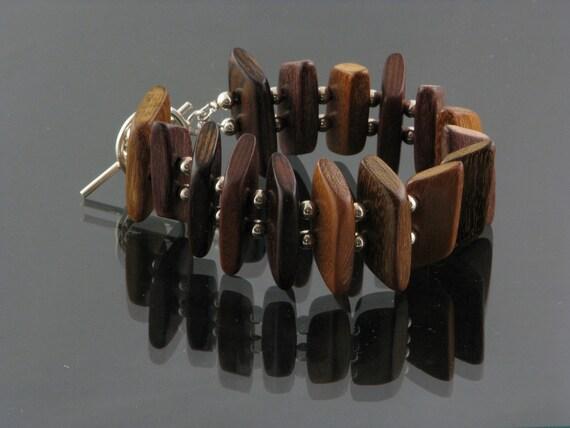Redwood and Sterling Silver Bracelet, Wood Bracelet, Statement Bracelet, Handmade