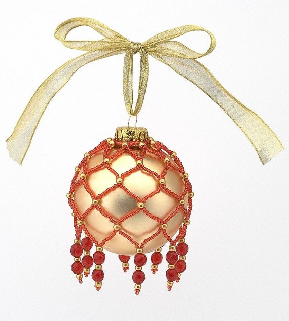 Netted Bead and Crystal Christmas Ornament PDF File Tutorial Instruction