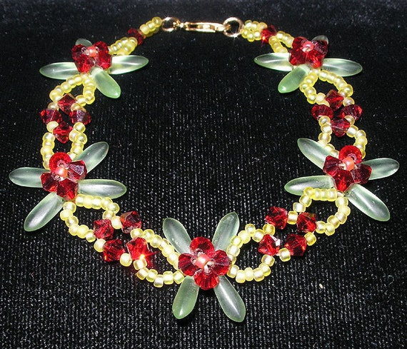 PDF File Tutorial for Crystal Flower Beadwoven Bracelet