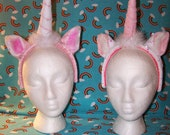 Custom Unicorn Headband ears and horn - YOU CHOOSE COLORS
