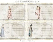 Jane Austen CALENDAR - REGENCY - 12 Months  - Journaling - Digital Scan - Printable Download
