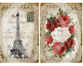 Paris Chic 1 - Set of 2 - Instant Download - French Vintage - Decoupage - Collage Sheet