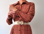 Vintage 1960s 70s Brown Silk Shirt Dress, From Japan