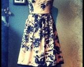 OASIS Floral Full Skirted dress in camel/black - size 8
