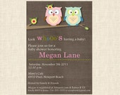 baby shower invite invitation - Textured background with cute owls Digital File Printable DIY
