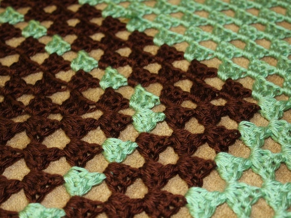 Crochet Afghan Blanket, Full Adult, Mint Chocolate Stripes