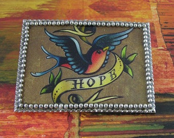 Blue Bird of Hope Tattoo Art Buckle and Belt
