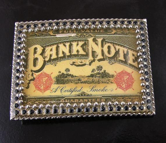 Cigar Box Bank Note Swarovski Crystal Buckle & Leather Belt