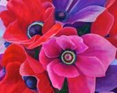 "BIG SALE Large Original Acrylic & Resin Painting - Spring Anemones - 36x36"""