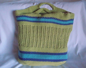 SALE-Large Lime Green Tote Bag With Turquoise & Navy Stripes