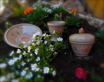 Bathroom Vanity Set, Cup, Covered bowl, Spring Decor, Roses, Trinket Bowl