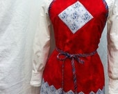 SALE Patriotic Women's Full Apron Red White Blue Appliqued Reversible Summer Apron Hostess Gift Birthday