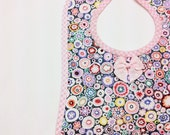 Quilted Baby Bib Multi Color Print Light Pink Gingham Ready to Ship Spring Accessories OOAK Handmade Original Gift