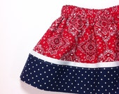Patriotic Girls Boutique Twirl Skirt Red White and Navy Size 2T Ready to Ship Spring Summer Clothing OOAK Handmade Original Gift