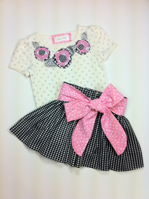 Toddler Girls Boutique Outfit Size 24 Month Twirl Skirt Black Pink Cream Gray Appliqued T-shirt Ready to Ship Children Clothing Holiday Gift