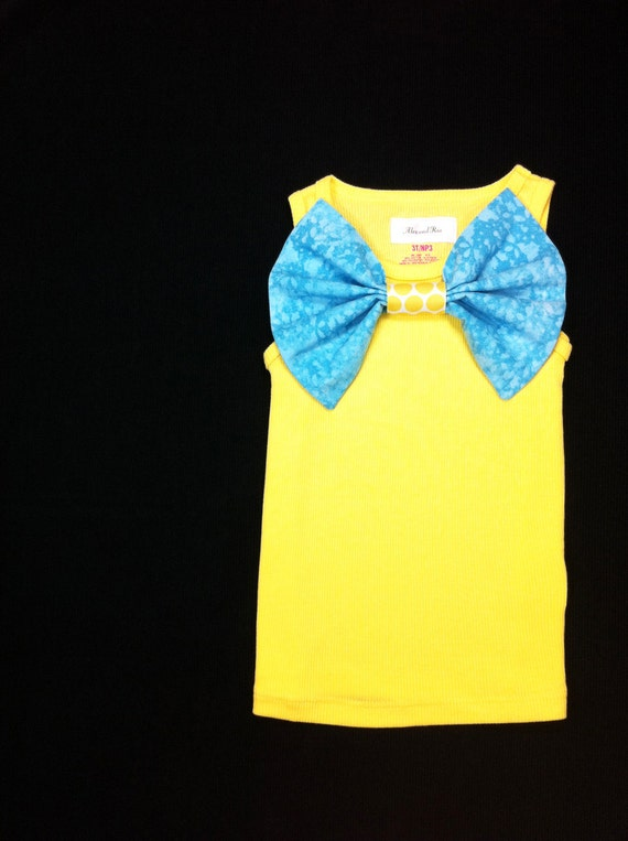 SALE Children Clothing Girls Yellow Tank with Turquoise Bow Size 3T Ready to Ship Boutique Clothing Kids Spring Summer Shirt LAST ONE