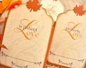 Wedding Escort Cards 1 Corinthians Autumn Leaves
