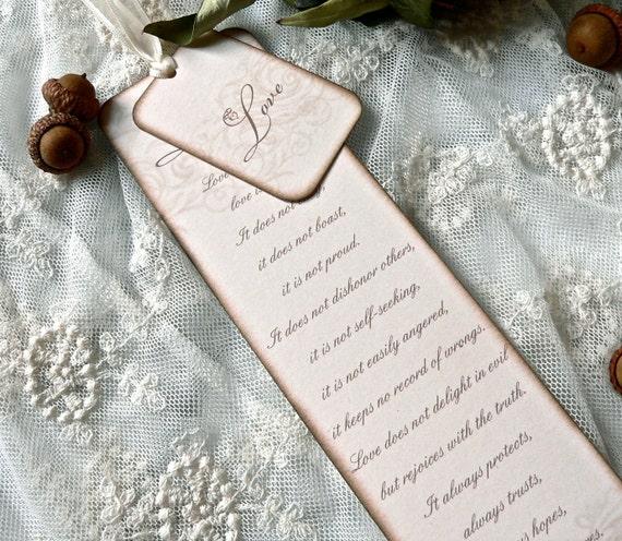 Wedding Bookmark Escort Tag 1 Corinthians 13