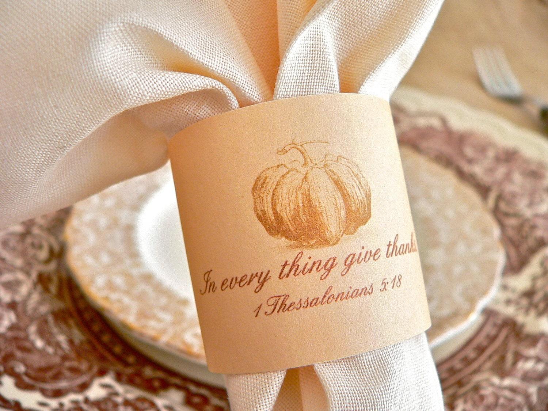 Thanksgiving napkin rings pumpkin and scripture 1 for Napkin rings for thanksgiving