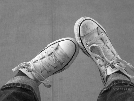 Fine Art Photograph Black and White Sneakers Converse Home Decor Gift for Teen Gift for Him Gift for Her