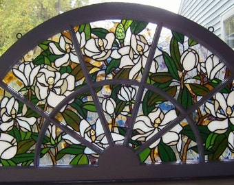 Magnolia Stained Glass Arched Panel