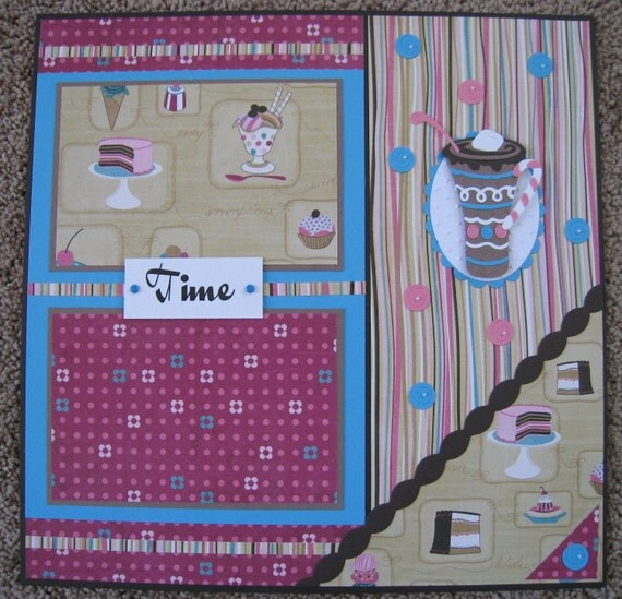 Birthday 12 x 12 Two Page Scrapbook Layout - Sweet Temptations