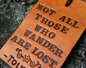 Leather Luggage Tag - Tolkien Quote - LOTR - Yellow Flower