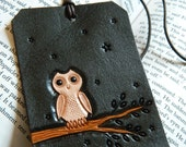 Leather Luggage Tag - White Owl - Hand Carved and Tooled - Original Starry Night Owl Design