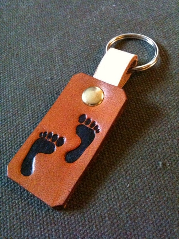 Leather Foot Print Key Chain