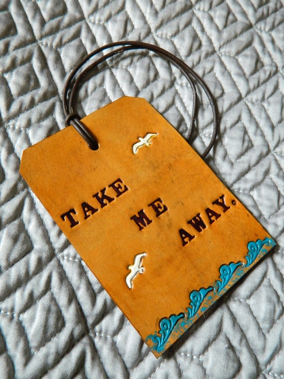 Leather Luggage Tag - Take Me Away - Hand Tooled - Nautical Birds Detail
