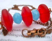 Bright Red Frosted Glass with Soft Blue Faceted Crystals Minimal Necklace in Copper Chain