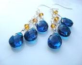 Blue Ultramarine Teardrops Faceted Chandelier Earrings